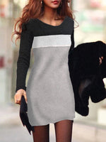 Color-Block Long Sleeve Dress