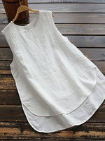 Cotton Sleeveless Paneled Shirts & Tops