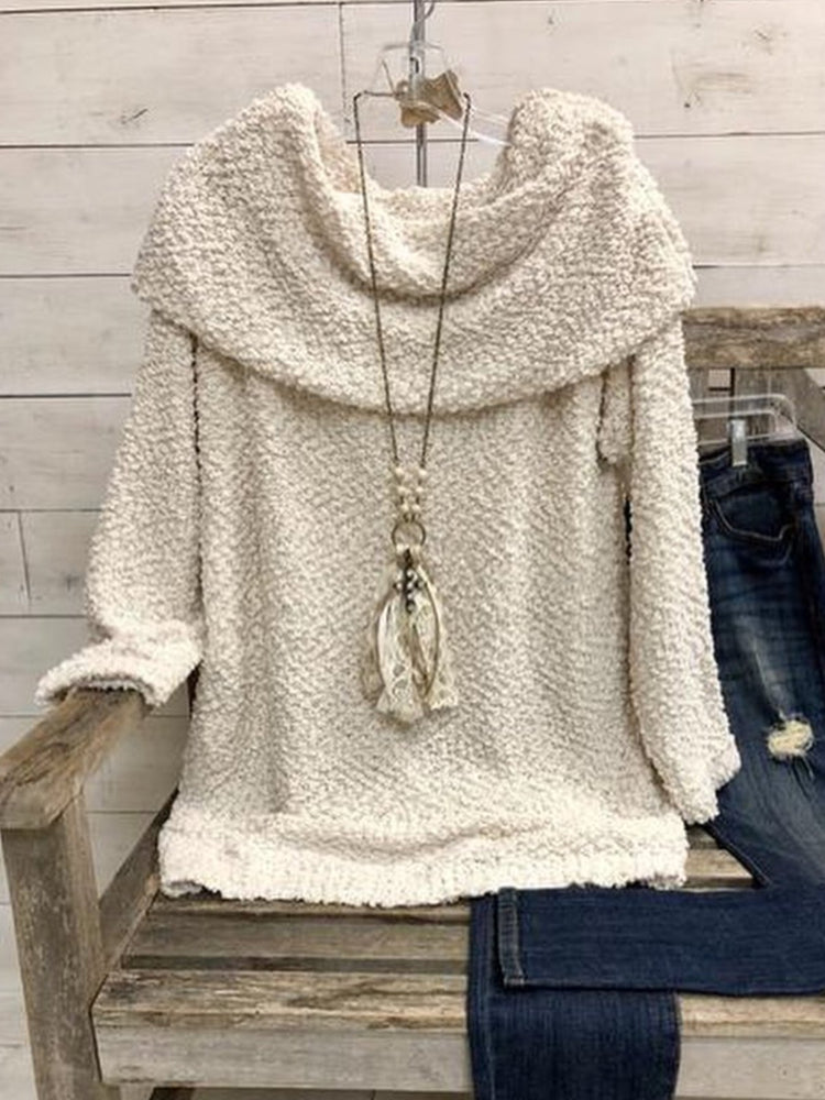 Casual Long Sleeve Cotton-Blend Solid Sweater
