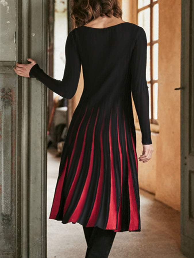 Black-Red Crew Neck Long Sleeve Dresses