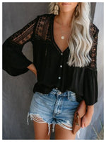 Casual Patchwork V Neck  Shirts & Tops