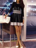 Black-White A-Line Casual Dresses