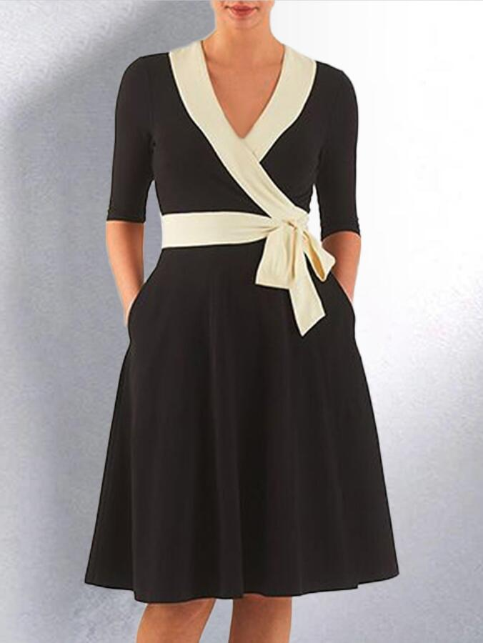 Black Pockets Plain V Neck Half Sleeve Dresses