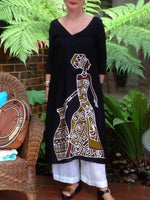 Black Tribal V Neck 3/4 Sleeve Printed Dresses
