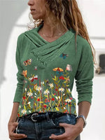 V Neck Long Sleeve Casual Shirts & Tops