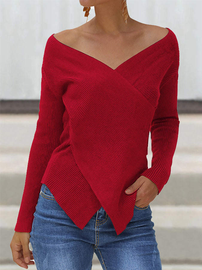 Sheath Knitted Long Sleeve Casual Sweater