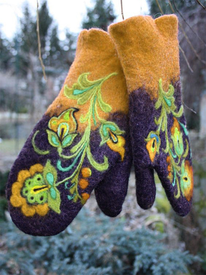 Knitted Floral Gloves & Mittens