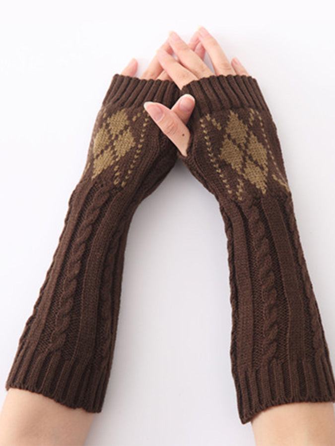 Cotton Geometric Gloves & Mittens