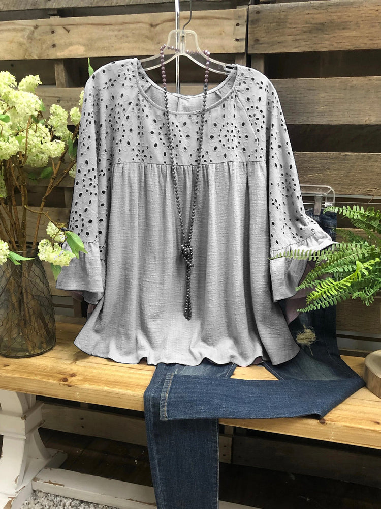 Gray Shift Short Sleeve Cotton Crew Neck Shirts & Tops