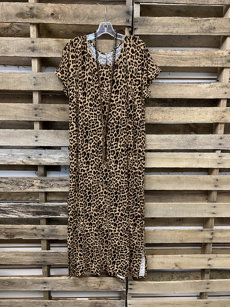 Leopard Slit Shift Short Sleeve Dresses