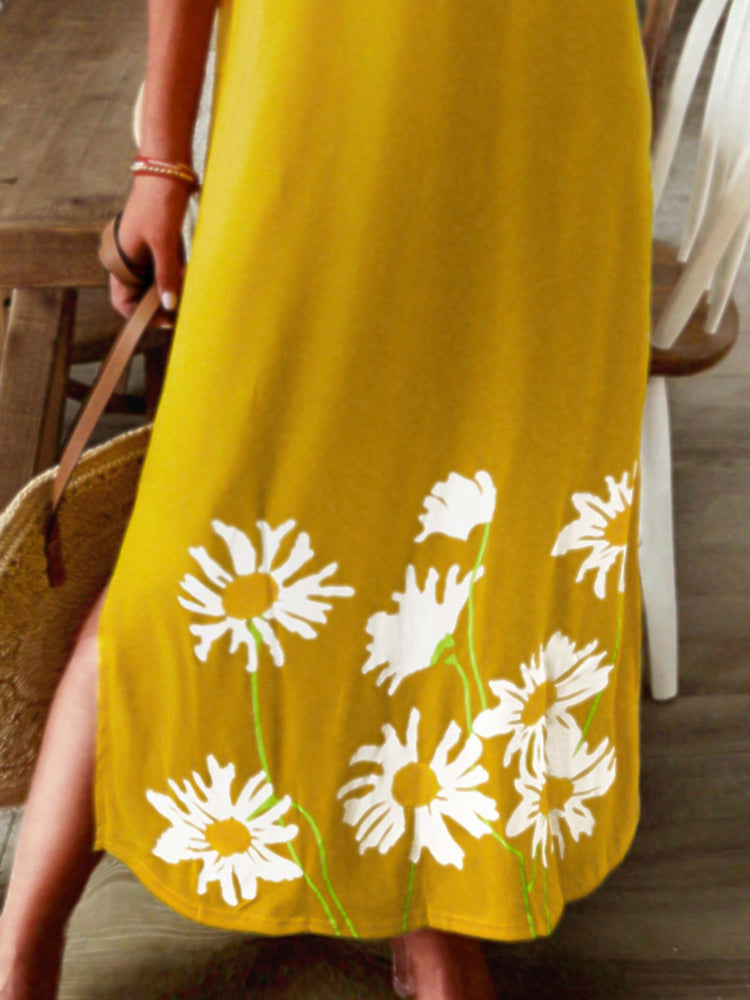 Yellow Vintage Short Sleeve Dresses