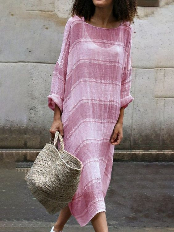 Striped Casual Colorblock Long Sleeve Dresses