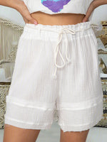 Plus Size White Boho Cotton-Blend Pants