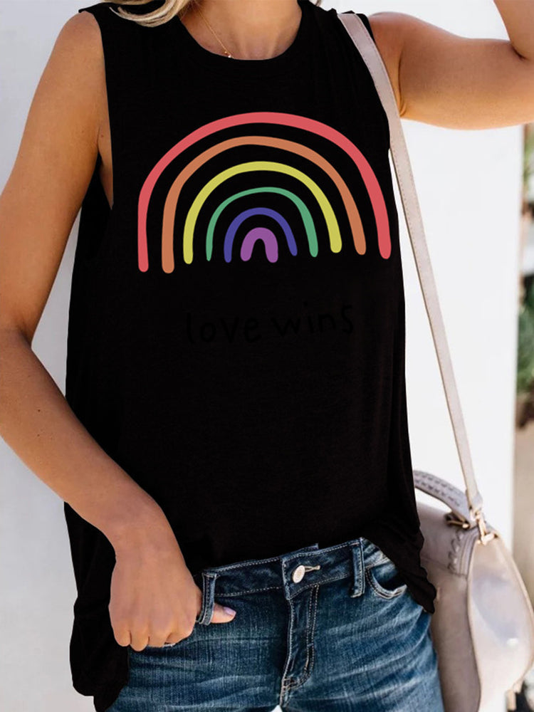 Printed Casual Sleeveless Letter Shirts & Tops
