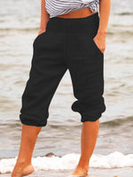 Plus Size Solid Casual Pockets Pants