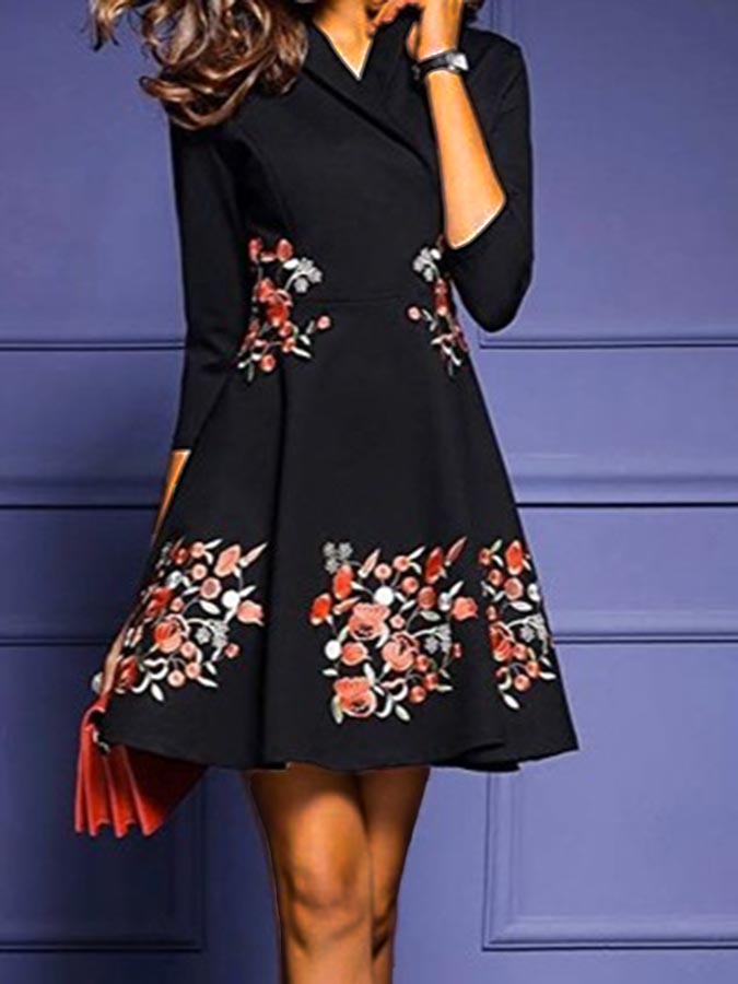 Black Vintage V Neck Dresses