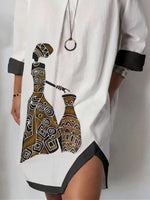 White Half Sleeve Shift Cotton-Blend Dresses