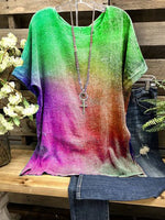 Multicolor Simple Short Sleeve Round Neck Shirts & Tops
