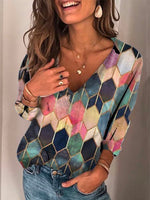 Casual Long Sleeve Cotton-Blend V Neck Tops