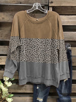 Leopard Long Sleeve Round Neck Shirts & Tops