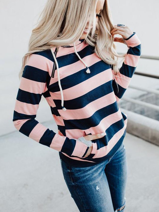 Pink Stripes Long Sleeve Hoodie Printed Sweatshirt