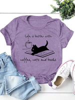 Cat & Coffee Graphic Tee