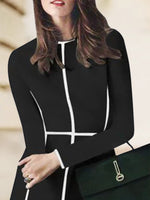 A-Line Color-Block Long Sleeve Dress