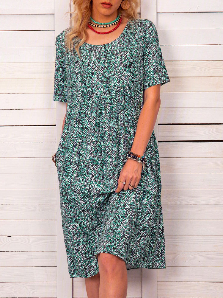 Summer Printed Midi Dress Crew Neck Dresses