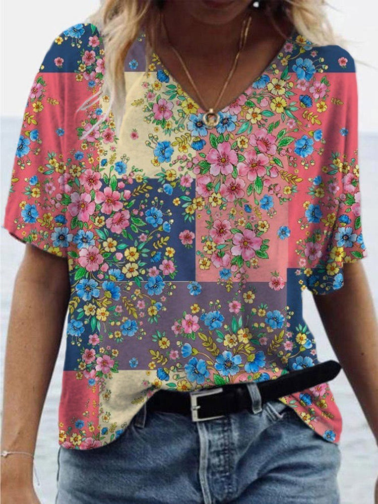 Cotton-Blend Floral Short Sleeve Vintage T-Shirts