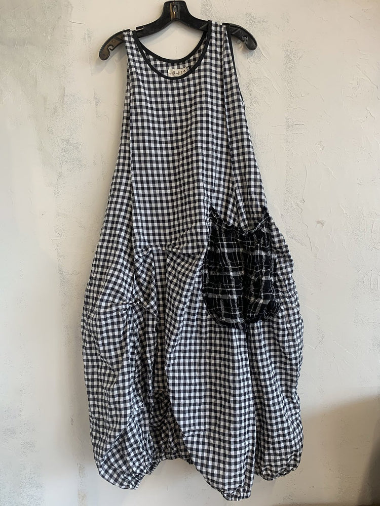 Plus Size Checkered Women Summer MIdi Dresses With Pockets