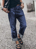 Black Blue Casual Denim Pants