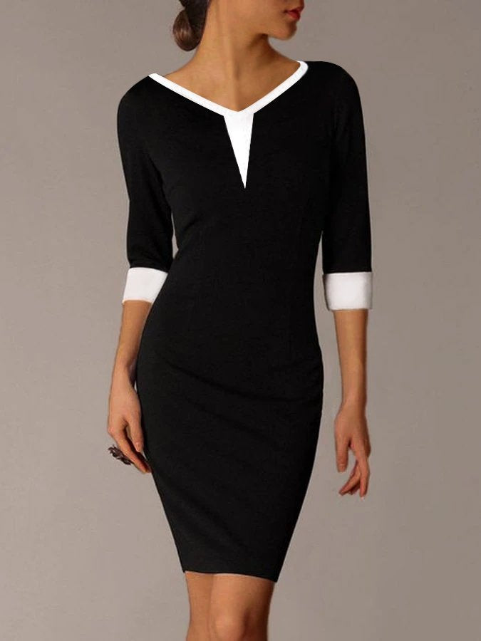 Black Sheath 3/4 Sleeve Casual V Neck Dresses