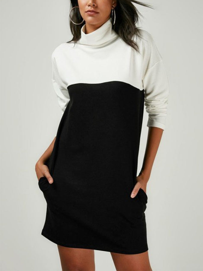 Black-White Turtleneck Cotton-Blend Casual Plain Dresses