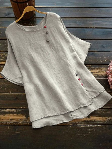 Casual Crew Neck Short Sleeve Shirts & Tops
