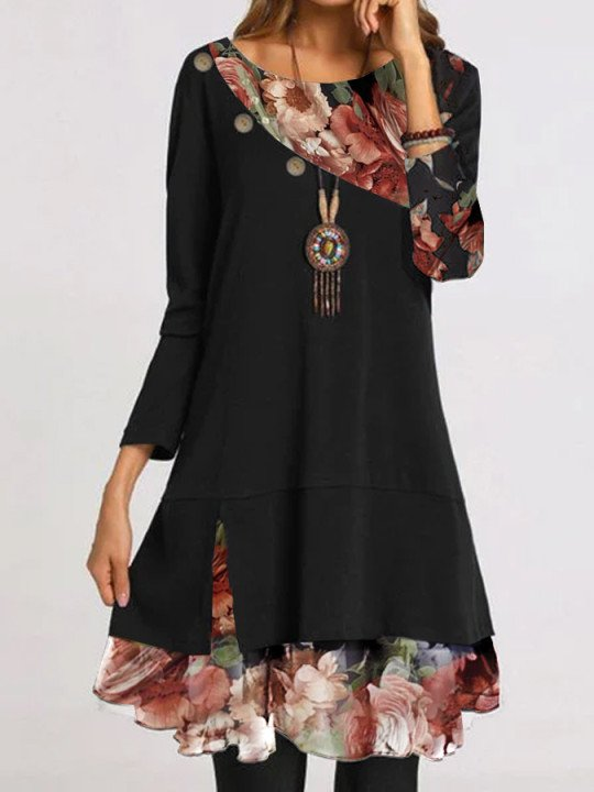 Women Floral Long Sleeve Printed Dresses