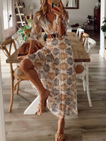 Holiday V Neck Leaves Printed Half Sleeve Dresses