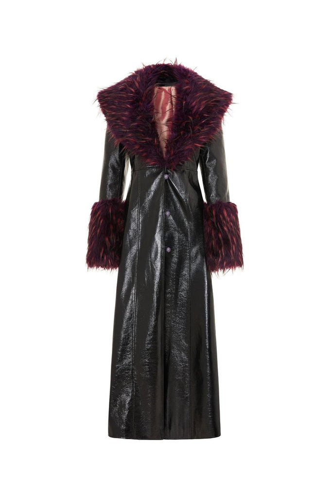 Faux fur coat black vegan leather with faux fur cuffs and collar. Long women's winter coat