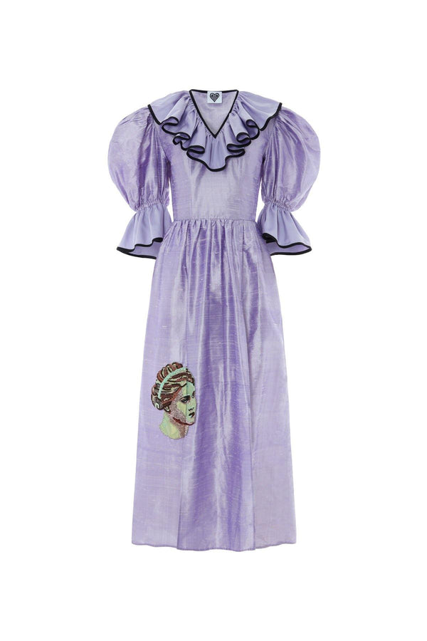 Silk dress, lilac, embellished dress with princess sleeves