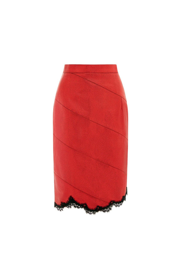 red leather skirt, red skirt, faux leather skirt, metallic skirt, pencil skirt,