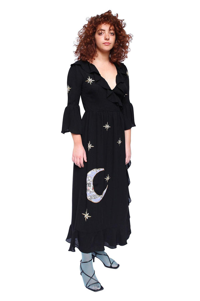 Sun and moon dress, black silk dress, celestial dress, embellished dress