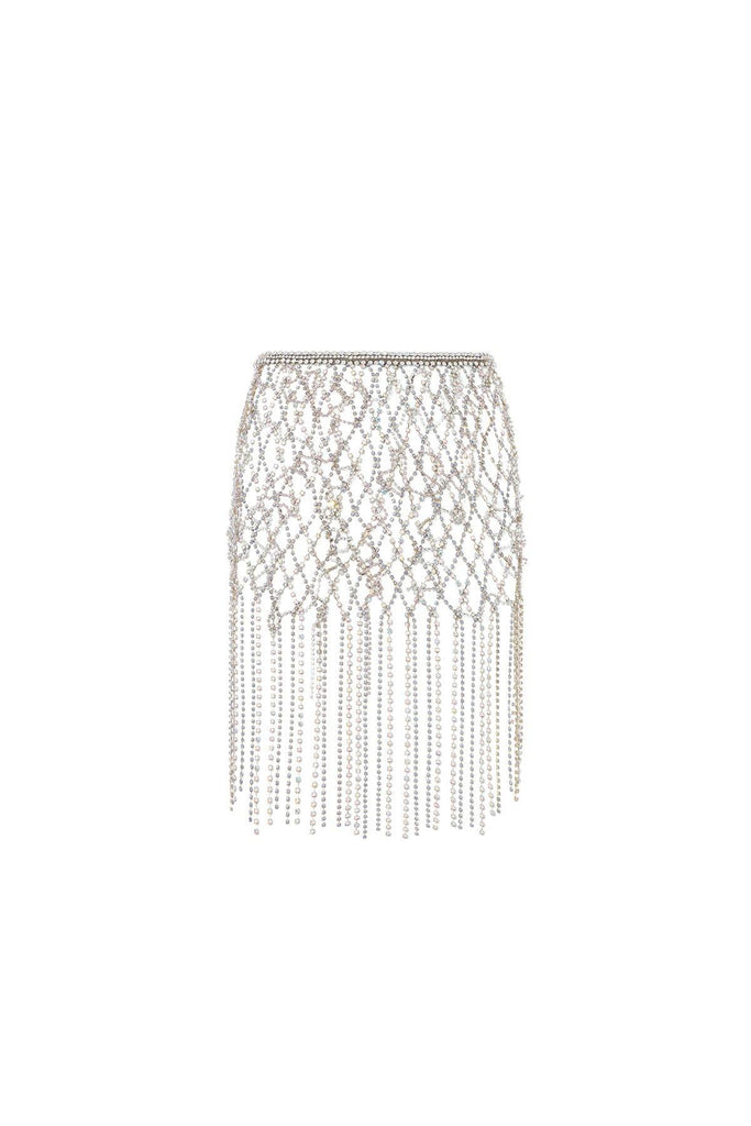 crystal chain skirt silver gold