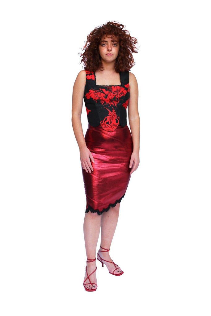 Red Black Corset Top party tops