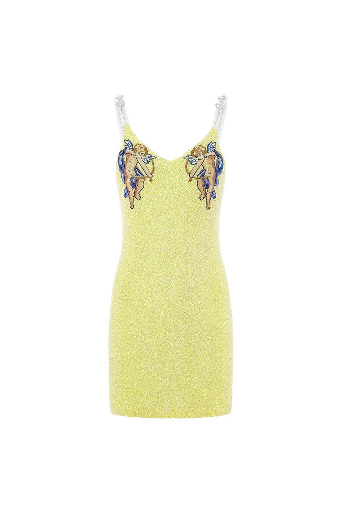 Embellished dress, mini embellished dress, embellished dress mini, Cherubs on yellow dress
