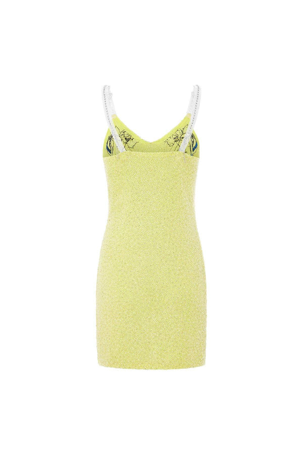 Embellished dress, embellished mini dress, Cherubs on yellow dressmini embellished dress, embellished dress mini