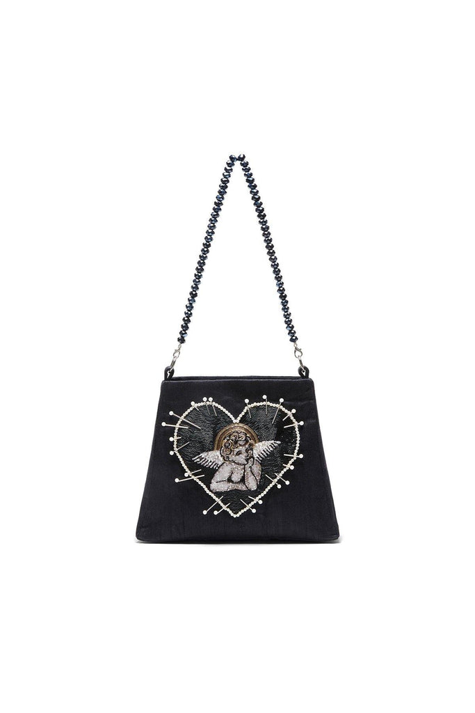 angel cherub bag, black bag, mini bags, beaded bag,  Clio Peppiatt bag