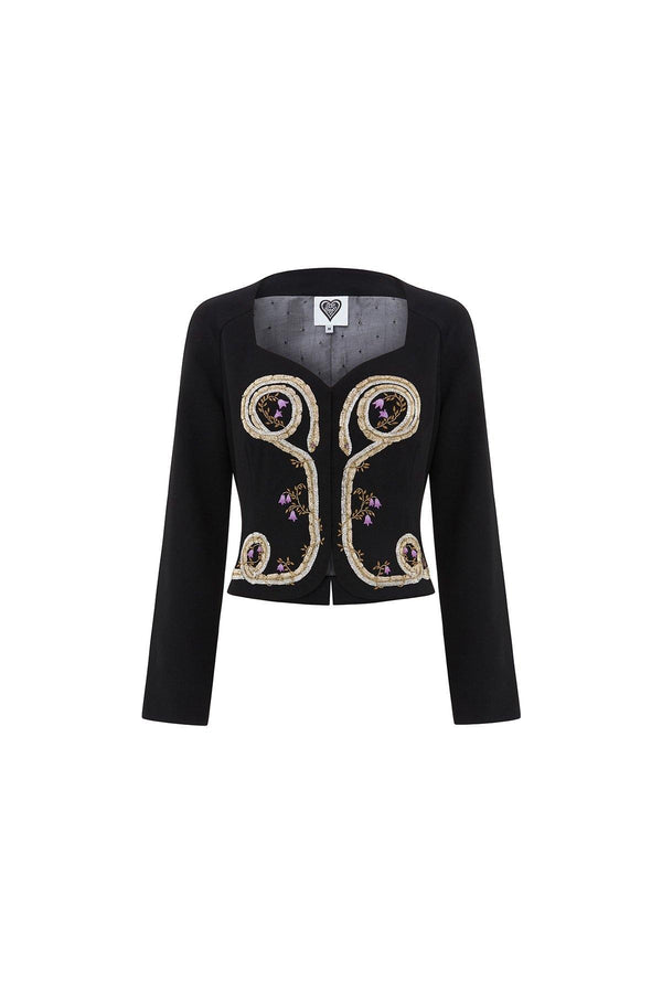 cropped jacket, cropped embroidered jacket, black embroidered jacket with gold snakes