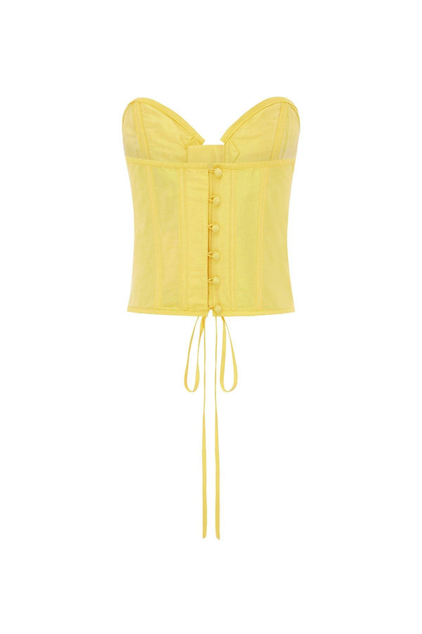 corset top, embellished tops, embellished corset, yellow corset, heart corset, Miley Cyrus, Miley Cyrus fashion
