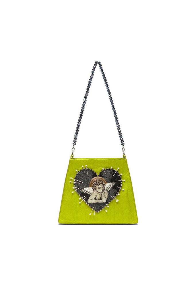 angel cherub bag, green bag, mini bags, beaded bag, Clio Peppiatt bag