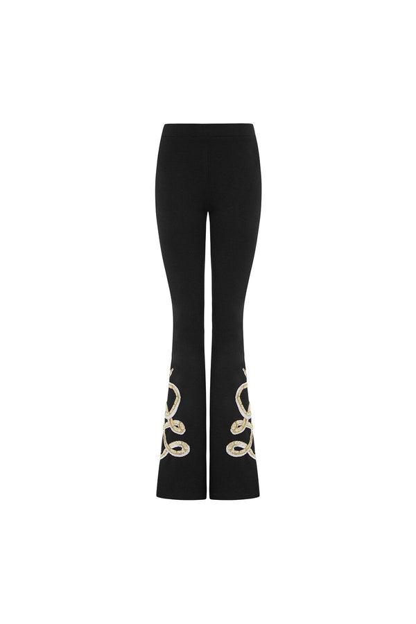 Black flares, flared trousers, embellished trousers, snake embroidery, snake embroidered trousers