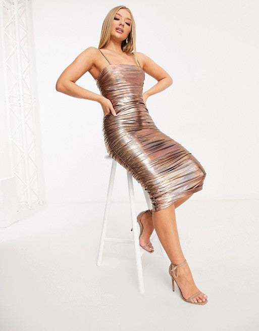 ROSE GOLD HOLOGRAPHIC RUCHED MIDI DRESS
